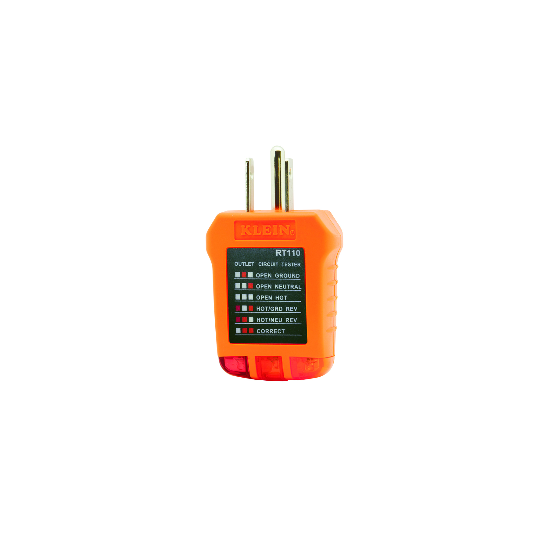 Receptacle Tester Rt110 Klein Tools For Professionals Since 1857 Wiring Neutral Hot Ground Images